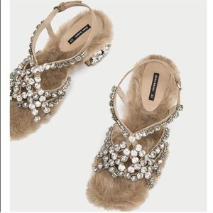 Bejeweled Leather Sandals w/ Faux Fur
